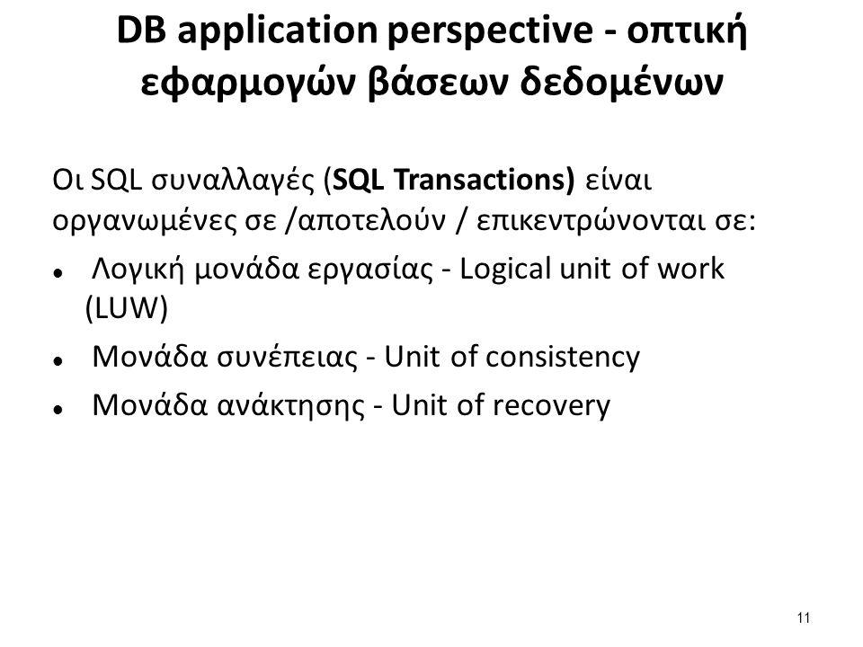 DB application perspective - οπτική εφαρμογών βάσεων δεδομένων Οι SQL συναλλαγές (SQL Transactions) είναι οργανωμένες σε /αποτελούν / επικεντρώνονται σε: Λογική μονάδα εργασίας - Logical unit of work (LUW) Μονάδα συνέπειας - Unit of consistency Μονάδα ανάκτησης - Unit of recovery 11