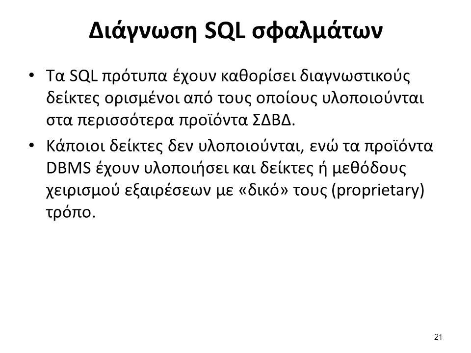 Διάγνωση SQL σφαλμάτων Τα SQL πρότυπα έχουν καθορίσει διαγνωστικούς δείκτες ορισμένοι από τους οποίους υλοποιούνται στα περισσότερα προϊόντα ΣΔΒΔ.