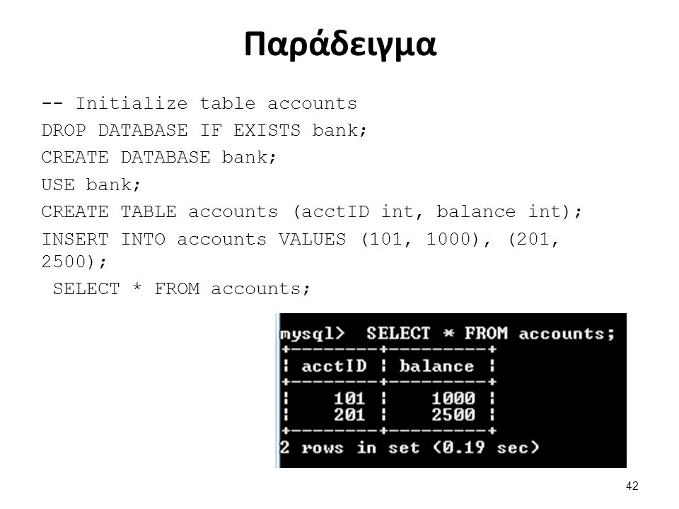 Παράδειγμα -- Initialize table accounts DROP DATABASE IF EXISTS bank; CREATE DATABASE bank; USE bank; CREATE TABLE accounts (acctID int, balance int);