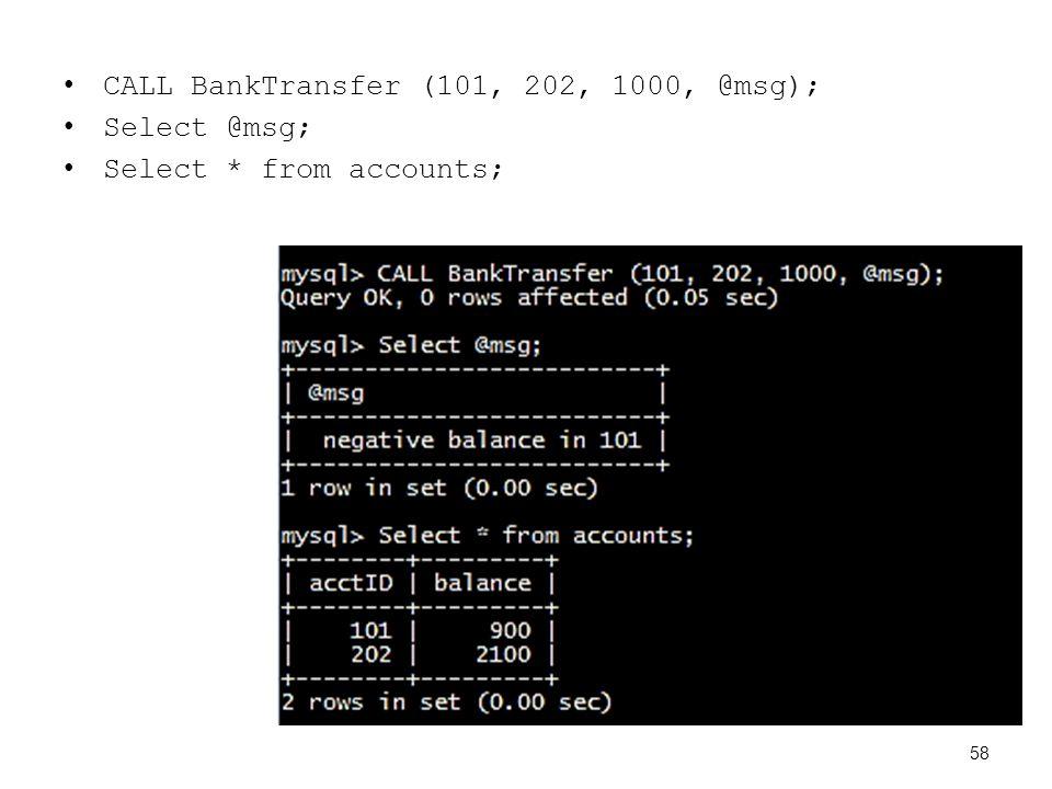CALL BankTransfer (101, 202, 1000, @msg); Select @msg; Select * from accounts; 58