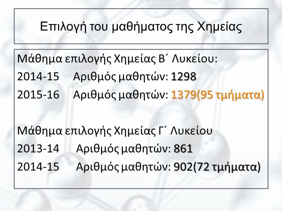 Επιλογή του μαθήματος της Χημείας Μάθημα επιλογής Χημείας Β΄ Λυκείου: 1298 2014-15 Αριθμός μαθητών: 1298 1379(95 τμήματα) 2015-16 Αριθμός μαθητών: 137