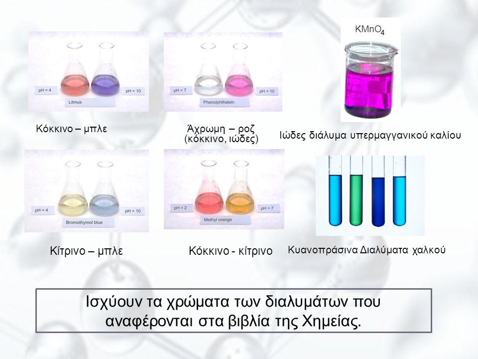 Κίτρινο – μπλε Κόκκινο - κίτρινο Κόκκινο – μπλε Άχρωμη – ροζ (κόκκινο, ιώδες) Ιώδες διάλυμα υπερμαγγανικού καλίου Κυανοπράσινα Διαλύματα χαλκού Ισχύου