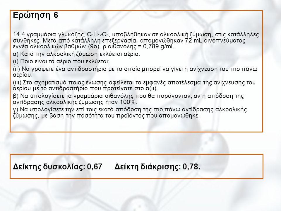 Δείκτης δυσκολίας: 0,67 Δείκτη διάκρισης: 0,78. Ερώτηση 6 14,4 γραμμάρια γλυκόζης, C 6 H 12 O 6, υποβλήθηκαν σε αλκοολική ζύμωση, στις κατάλληλες συνθ