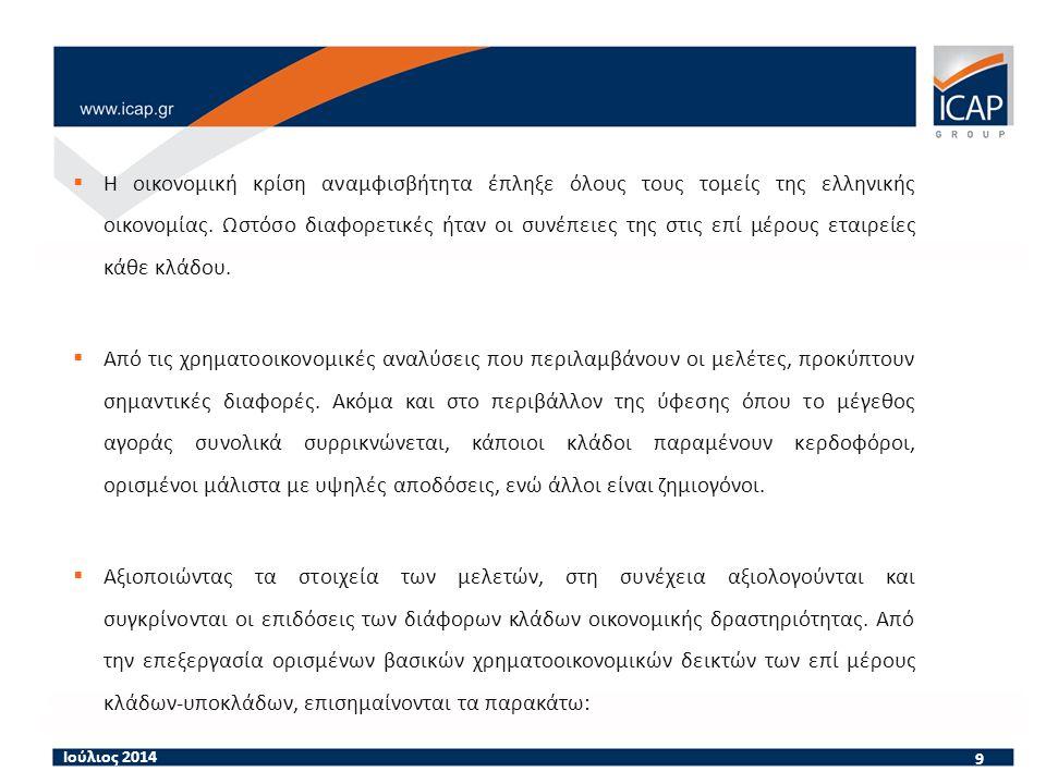 9  Η οικονομική κρίση αναμφισβήτητα έπληξε όλους τους τομείς της ελληνικής οικονομίας.