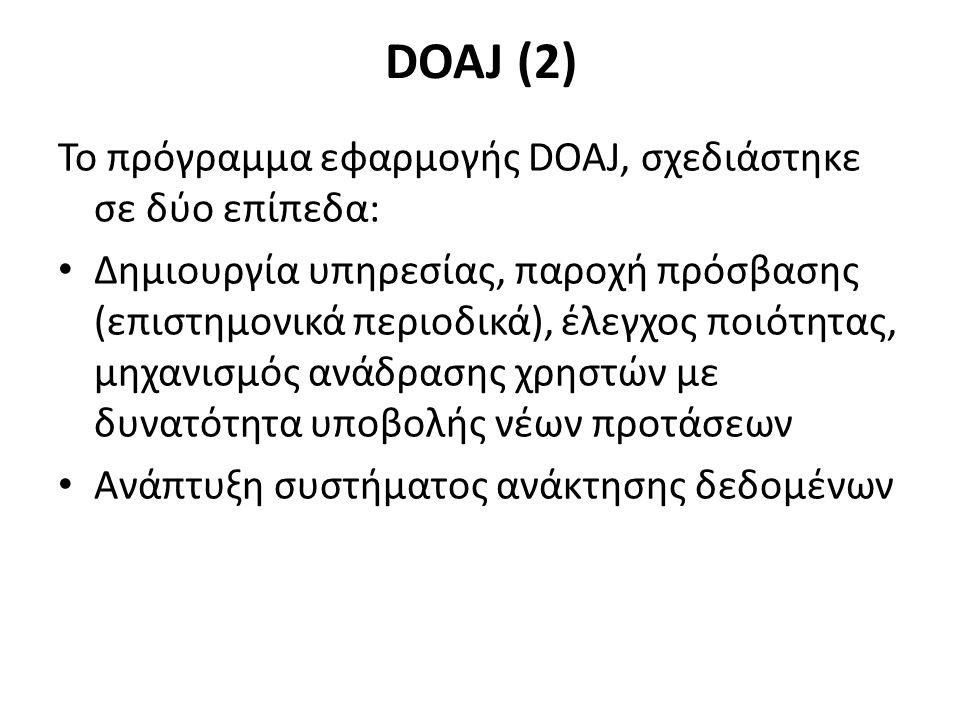 DOAJ (2) Το πρόγραμμα εφαρμογής DOAJ, σχεδιάστηκε σε δύο επίπεδα: Δημιουργία υπηρεσίας, παροχή πρόσβασης (επιστημονικά περιοδικά), έλεγχος ποιότητας, μηχανισμός ανάδρασης χρηστών με δυνατότητα υποβολής νέων προτάσεων Ανάπτυξη συστήματος ανάκτησης δεδομένων