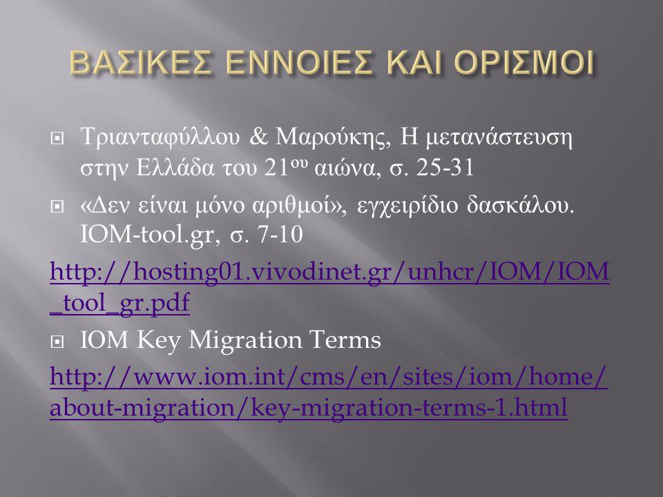  Τριανταφύλλου & Μαρούκης, Η μετανάστευση στην Ελλάδα του 21 ου αιώνα, σ. 25-31  « Δεν είναι μόνο αριθμοί », εγχειρίδιο δασκάλου. IOM-tool.gr, σ. 7-