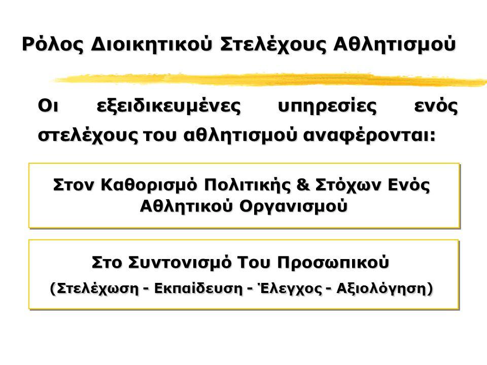 Στο Συντονισμό Του Προσωπικού (Στελέχωση - Εκπαίδευση - Έλεγχος - Αξιολόγηση) Στο Συντονισμό Του Προσωπικού (Στελέχωση - Εκπαίδευση - Έλεγχος - Αξιολόγηση) Στον Καθορισμό Πολιτικής & Στόχων Ενός Αθλητικού Οργανισμού Στον Καθορισμό Πολιτικής & Στόχων Ενός Αθλητικού Οργανισμού Οι εξειδικευμένες υπηρεσίες ενός στελέχους του αθλητισμού αναφέρονται: Ρόλος Διοικητικού Στελέχους Αθλητισμού