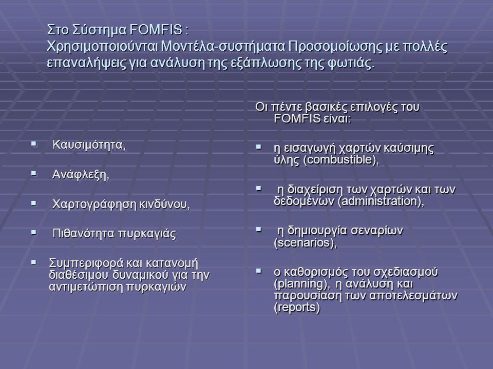 Στο Σύστημα FOMFIS : Χρησιμοποιούνται Μοντέλα-συστήματα Προσομοίωσης με πολλές επαναλήψεις για ανάλυση της εξάπλωσης της φωτιάς.
