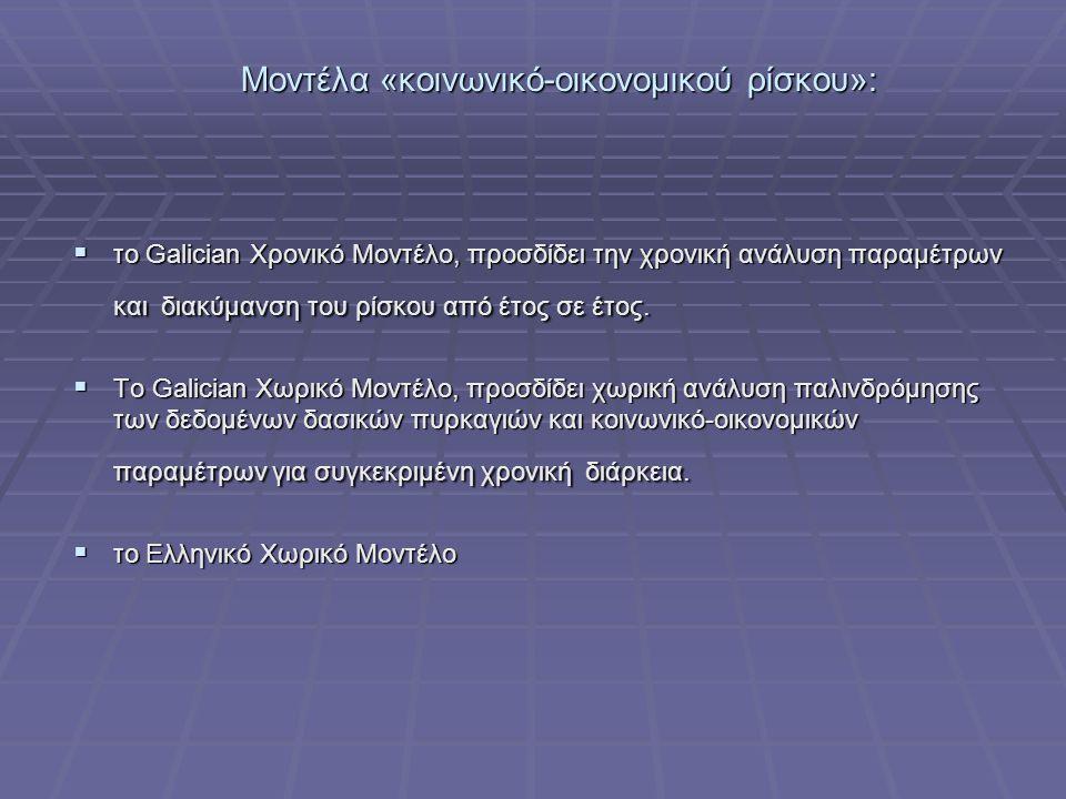 Μοντέλα «κοινωνικό-οικονομικού ρίσκου»:  το Galician Χρονικό Μοντέλο, προσδίδει την χρονική ανάλυση παραμέτρων και διακύμανση του ρίσκου από έτος σε έτος.