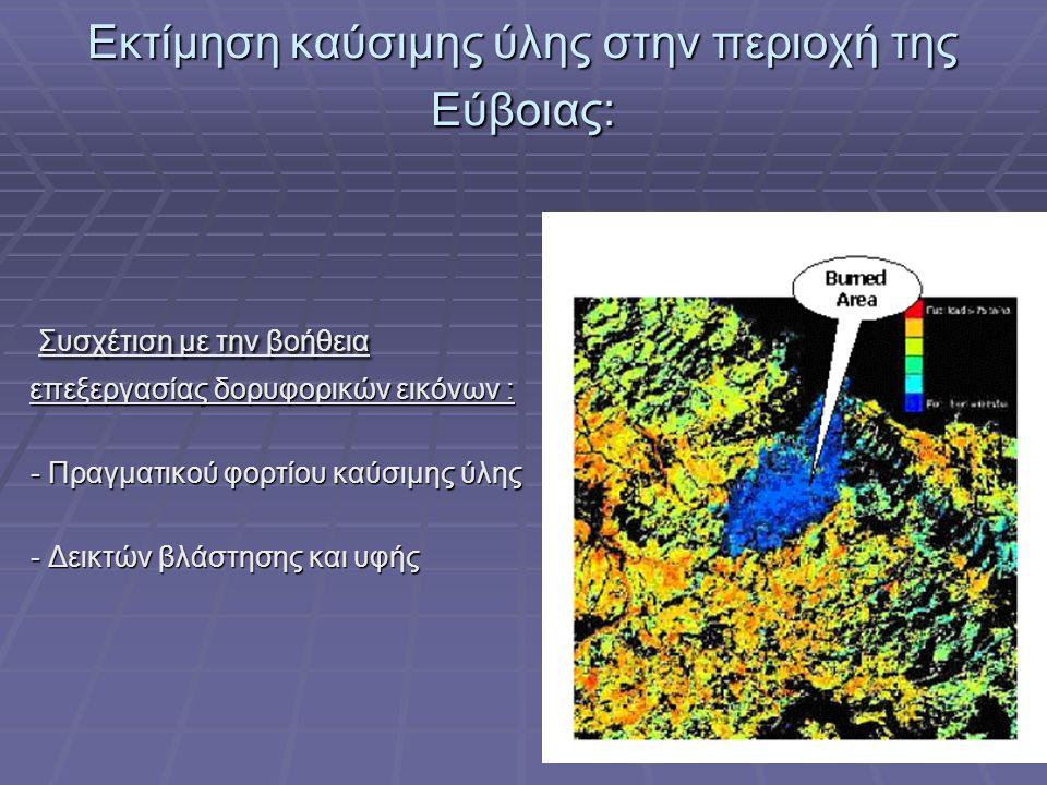 Εκτίμηση καύσιμης ύλης στην περιοχή της Εύβοιας: Συσχέτιση με την βοήθεια επεξεργασίας δορυφορικών εικόνων : Συσχέτιση με την βοήθεια επεξεργασίας δορυφορικών εικόνων : - Πραγματικού φορτίου καύσιμης ύλης - Πραγματικού φορτίου καύσιμης ύλης - Δεικτών βλάστησης και υφής - Δεικτών βλάστησης και υφής