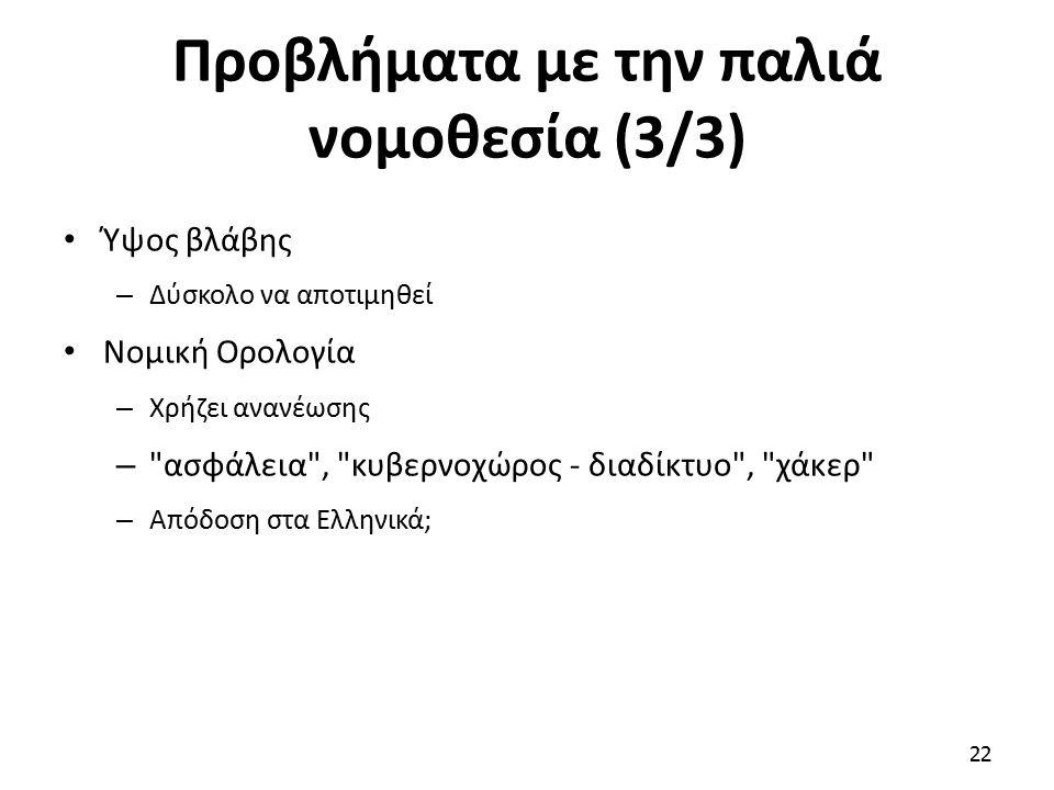 Προβλήματα με την παλιά νομοθεσία (3/3) Ύψος βλάβης – Δύσκολο να αποτιμηθεί Νομική Ορολογία – Χρήζει ανανέωσης – ασφάλεια , κυβερνοχώρος - διαδίκτυο , χάκερ – Απόδοση στα Ελληνικά; 22