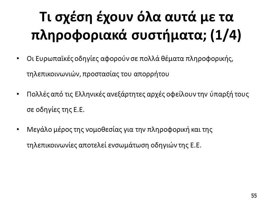 Τι σχέση έχουν όλα αυτά με τα πληροφοριακά συστήματα; (1/4) Οι Ευρωπαϊκές οδηγίες αφορούν σε πολλά θέματα πληροφορικής, τηλεπικοινωνιών, προστασίας του απορρήτου Πολλές από τις Ελληνικές ανεξάρτητες αρχές οφείλουν την ύπαρξή τους σε οδηγίες της Ε.Ε.