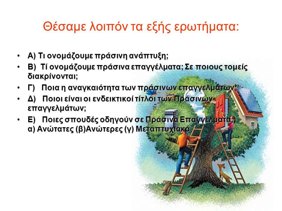 Θέσαμε λοιπόν τα εξής ερωτήματα: Α) Τι ονομάζουμε πράσινη ανάπτυξη;Α) Τι ονομάζουμε πράσινη ανάπτυξη; Β) Tί ονομάζουμε πράσινα επαγγέλματα; Σε ποιους