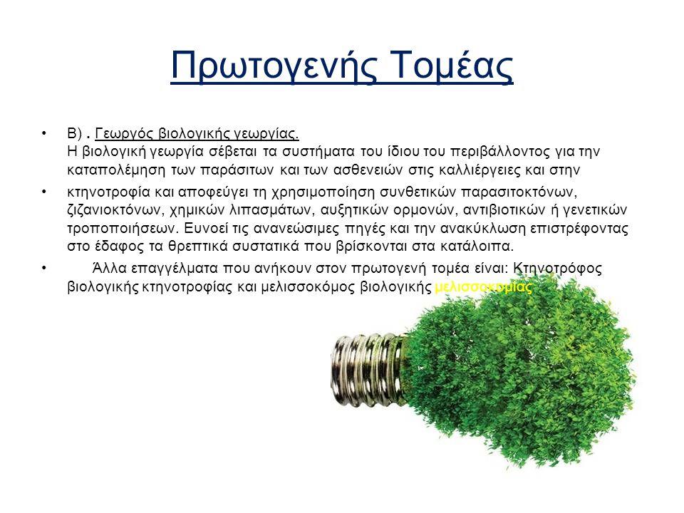 Β). Γεωργός βιολογικής γεωργίας. Η βιολογική γεωργία σέβεται τα συστήµατα του ίδιου του περιβάλλοντος για την καταπολέµηση των παράσιτων και των ασθεν