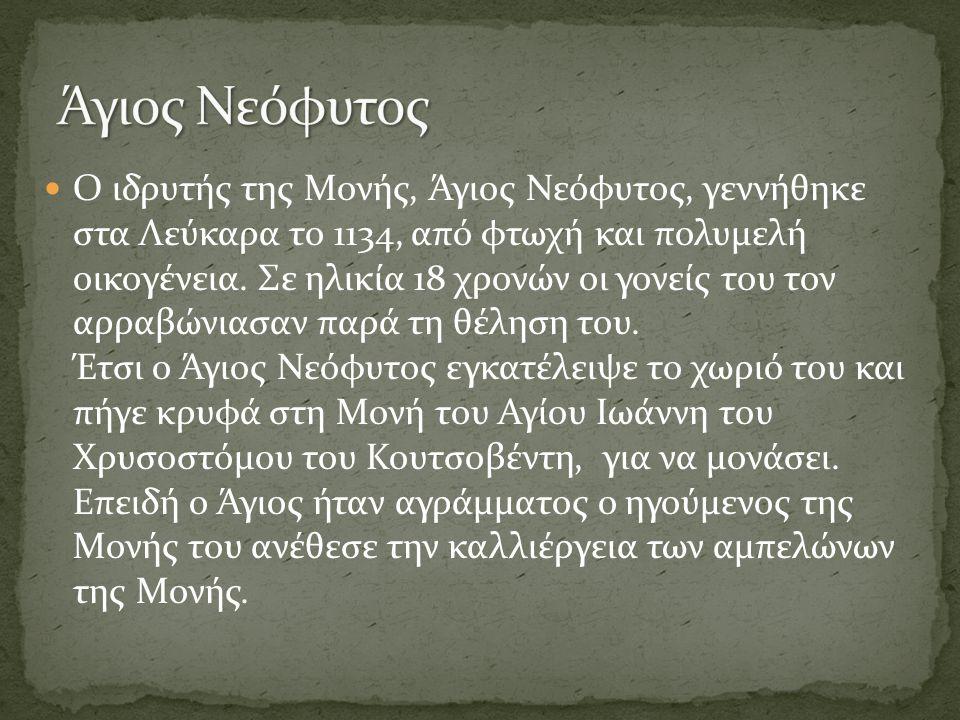 Η ιερά μονή του αγίου Νεοφύτου, βασιλική και σταυροπηγιακή, μια από τις μεγάλες μονές του νησιού, μοναδικό προσκύνημα και κέντρο λατρείας στη δυτική Κύπρο, υπήρξε και θησαυροφυλάκιο διά μέσου των αιώνων.