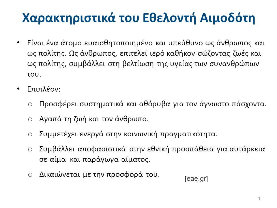 Χαρακτηριστικά του Εθελοντή Αιμοδότη [eae.gr]eae.gr 1 Είναι ένα άτομο ευαισθητοποιημένο και υπεύθυνο ως άνθρωπος και ως πολίτης.