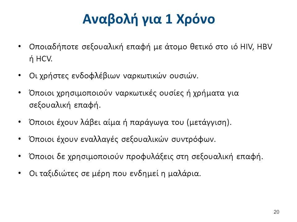 Αναβολή για 1 Χρόνο Οποιαδήποτε σεξουαλική επαφή με άτομο θετικό στο ιό HIV, HBV ή HCV.
