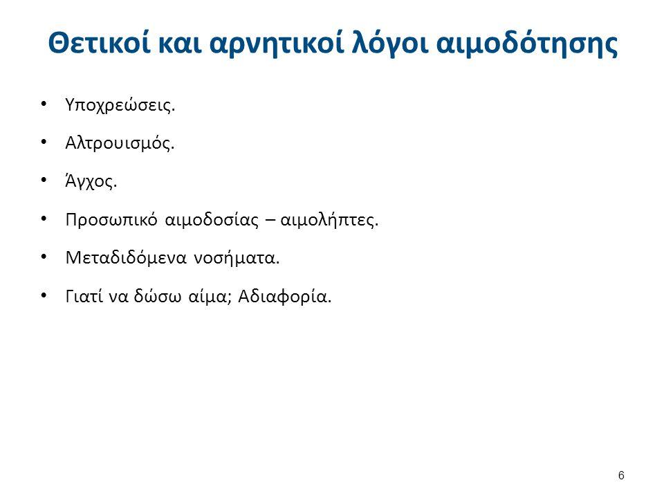 Λόγοι αιμοδότησης 47 Attitudes and behaviours of Greeks concerning blood donation: recruitment and retention campaigns should be focused on need rather than altruism , Authors: Aikaterini A.