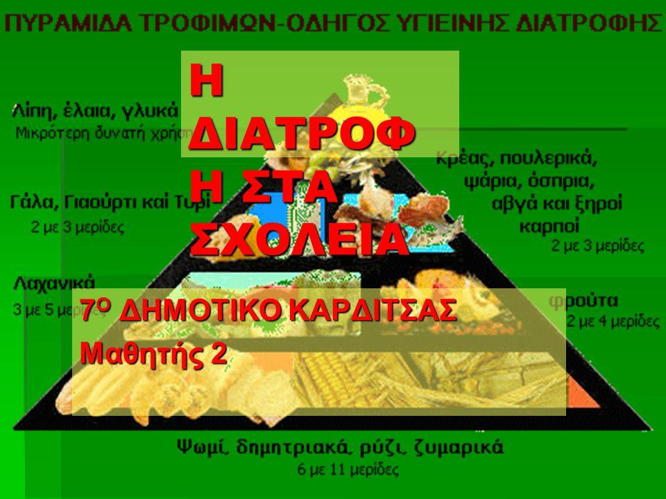 Η ΔΙΑΤΡΟΦ Η ΣΤΑ ΣΧΟΛΕΙΑ 7 Ο ΔΗΜΟΤΙΚΟ ΚΑΡΔΙΤΣΑΣ Μαθητής 2