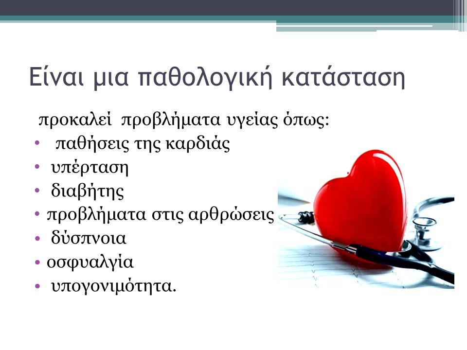 Είναι μια παθολογική κατάσταση προκαλεί προβλήματα υγείας όπως: παθήσεις της καρδιάς υπέρταση διαβήτης προβλήματα στις αρθρώσεις δύσπνοια οσφυαλγία υπ