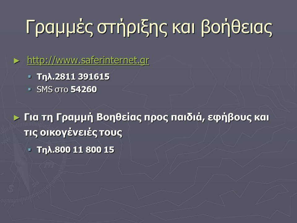 Γραμμές στήριξης και βοήθειας ► http://www.saferinternet.gr http://www.saferinternet.gr  Τηλ.2811 391615  SMS στο 54260 ► Για τη Γραμμή Βοηθείας προ