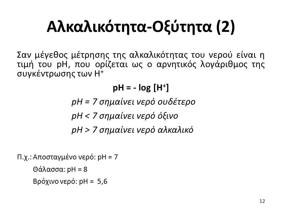 Αλκαλικότητα-Οξύτητα (2) Σαν μέγεθος μέτρησης της αλκαλικότητας του νερού είναι η τιμή του pH, που ορίζεται ως ο αρνητικός λογάριθμος της συγκέντρωσης