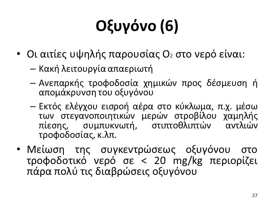 Οξυγόνο (6) Οι αιτίες υψηλής παρουσίας Ο 2 στο νερό είναι: – Κακή λειτουργία απαεριωτή – Ανεπαρκής τροφοδοσία χημικών προς δέσμευση ή απομάκρυνση του