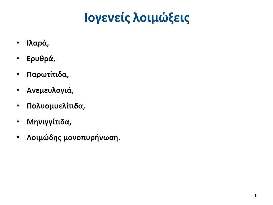 Ιογενείς λοιμώξεις Ιλαρά, Ερυθρά, Παρωτίτιδα, Ανεμευλογιά, Πολυομυελίτιδα, Μηνιγγίτιδα, Λοιμώδης μονοπυρήνωση. 1