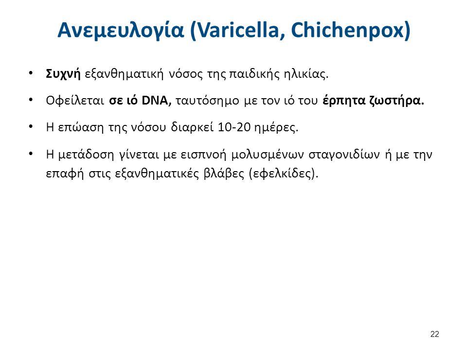 Ανεμευλογία (Varicella, Chichenpox) Συχνή εξανθηματική νόσος της παιδικής ηλικίας. Οφείλεται σε ιό DNA, ταυτόσημο με τον ιό του έρπητα ζωστήρα. Η επώα