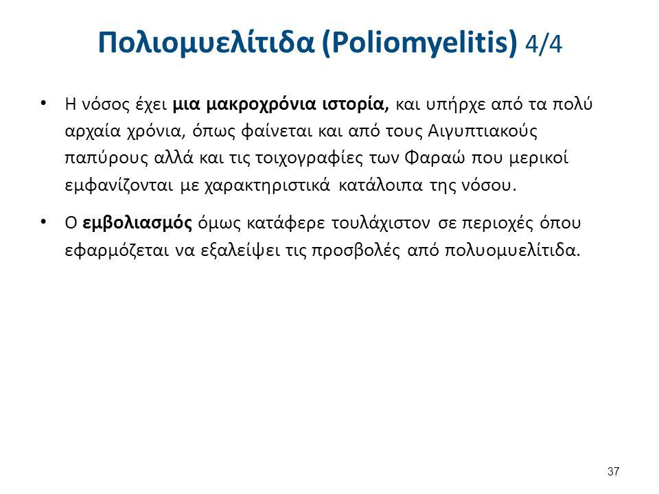 Πολιομυελίτιδα (Poliomyelitis) 4/4 Η νόσος έχει μια μακροχρόνια ιστορία, και υπήρχε από τα πολύ αρχαία χρόνια, όπως φαίνεται και από τους Αιγυπτιακούς