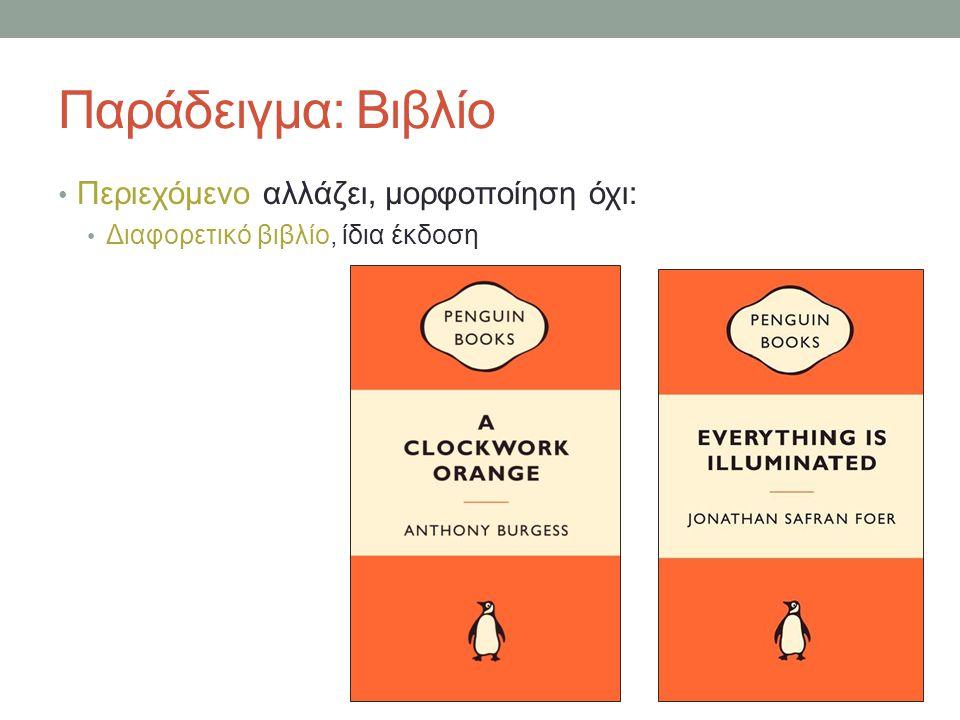 Παράδειγμα: Βιβλίο Περιεχόμενο αλλάζει, μορφοποίηση όχι: Διαφορετικό βιβλίο, ίδια έκδοση