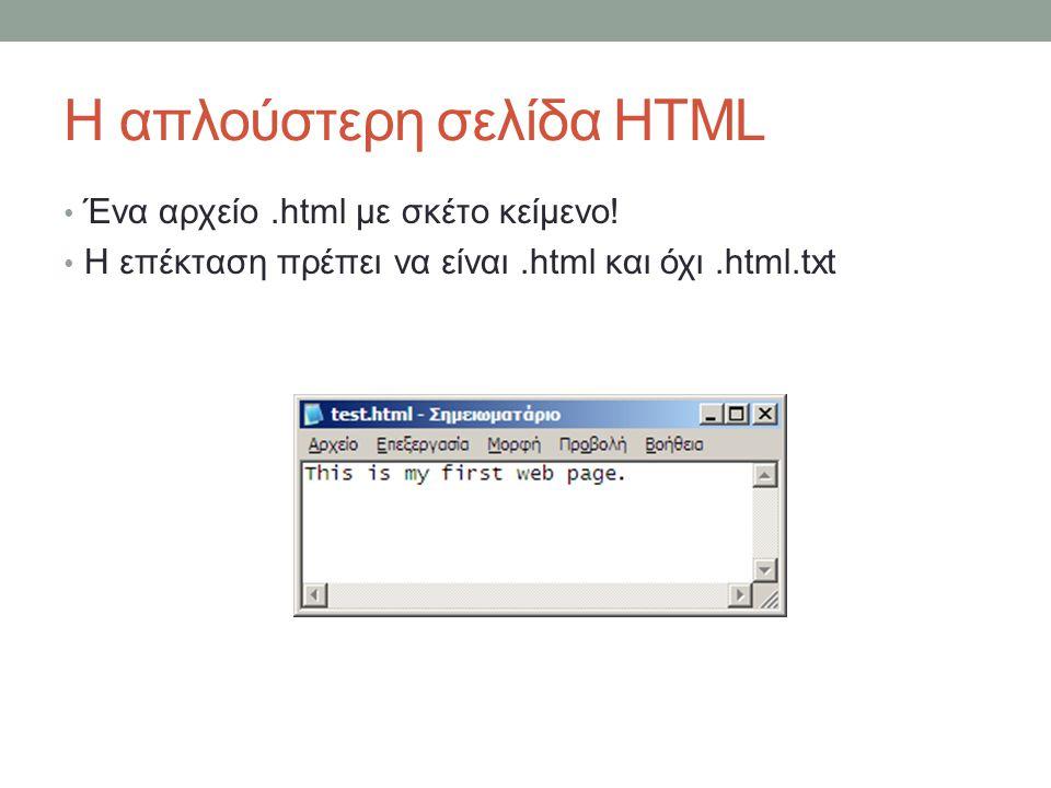 Η απλούστερη σελίδα HTML Ένα αρχείο.html με σκέτο κείμενο! Η επέκταση πρέπει να είναι.html και όχι.html.txt