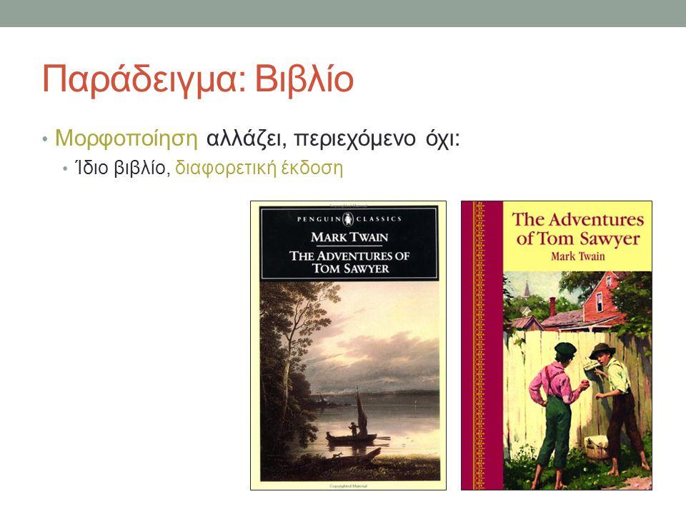 Παράδειγμα: Βιβλίο Μορφοποίηση αλλάζει, περιεχόμενο όχι: Ίδιο βιβλίο, διαφορετική έκδοση