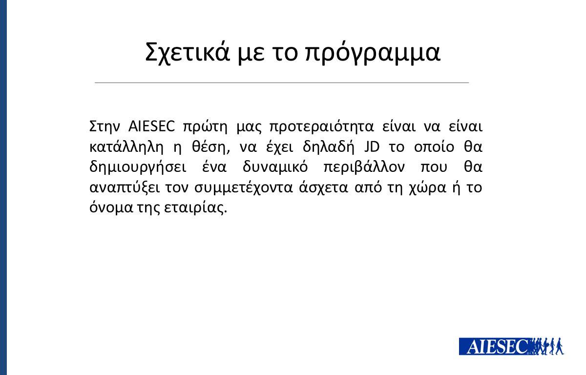 Στην AIESEC πρώτη μας προτεραιότητα είναι να είναι κατάλληλη η θέση, να έχει δηλαδή JD το οποίο θα δημιουργήσει ένα δυναμικό περιβάλλον που θα αναπτύξ
