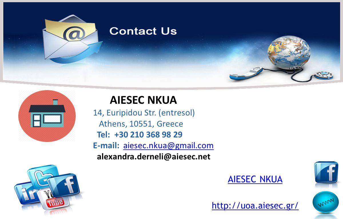 AIESEC NKUA 14, Euripidou Str. (entresol) Athens, 10551, Greece Tel: +30 210 368 98 29 E-mail: aiesec.nkua@gmail.comaiesec.nkua@gmail.com alexandra.de