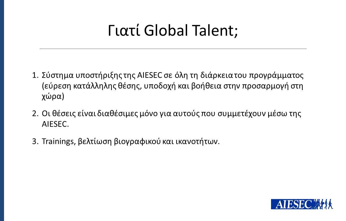 Γιατί Global Talent; 1.Σύστημα υποστήριξης της AIESEC σε όλη τη διάρκεια του προγράμματος (εύρεση κατάλληλης θέσης, υποδοχή και βοήθεια στην προσαρμογ