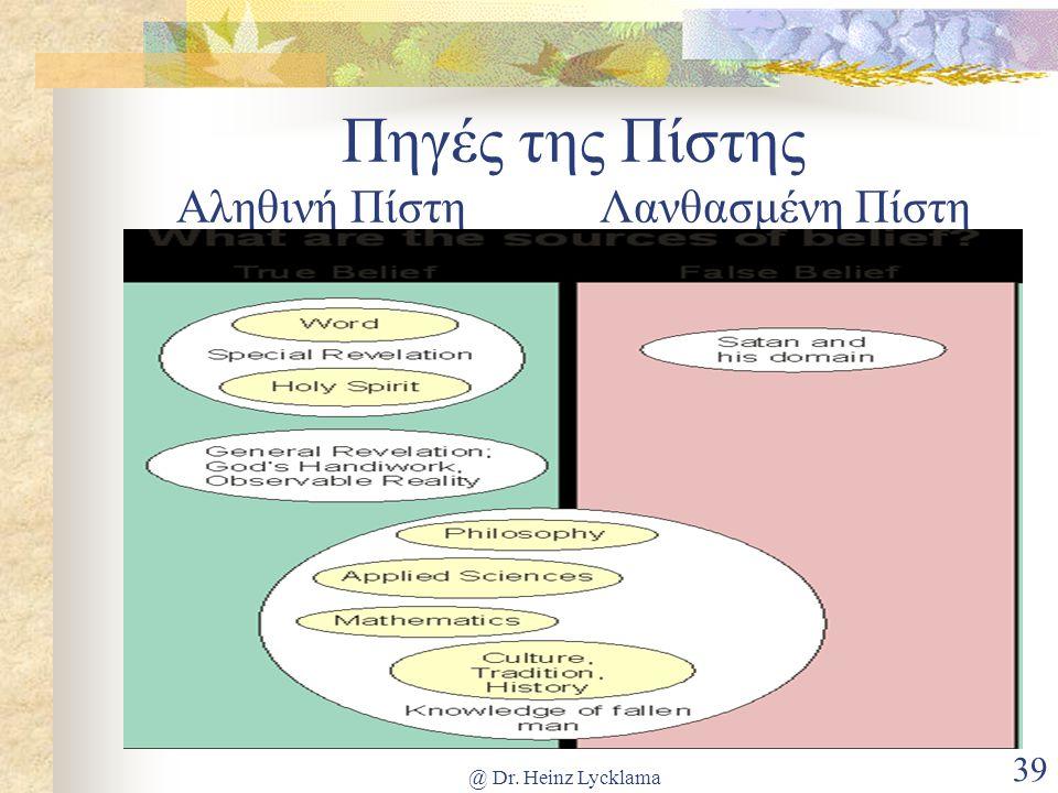 @ Dr. Heinz Lycklama 39 Πηγές της Πίστης Αληθινή ΠίστηΛανθασμένη Πίστη