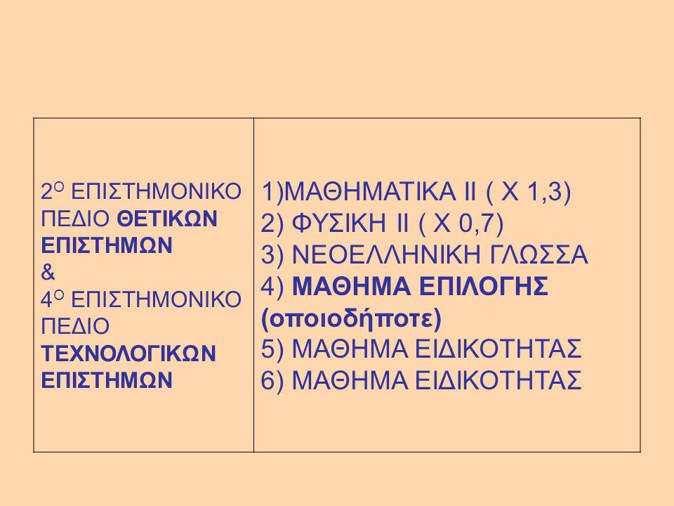 2 Ο ΕΠΙΣΤΗΜΟΝΙΚΟ ΠΕΔΙΟ ΘΕΤΙΚΩΝ ΕΠΙΣΤΗΜΩΝ & 4 Ο ΕΠΙΣΤΗΜΟΝΙΚΟ ΠΕΔΙΟ ΤΕΧΝΟΛΟΓΙΚΩΝ ΕΠΙΣΤΗΜΩΝ 1)ΜΑΘΗΜΑΤΙΚΑ II ( Χ 1,3) 2) ΦΥΣΙΚΗ II ( Χ 0,7) 3) ΝΕΟΕΛΛΗΝΙΚΗ ΓΛΩΣΣΑ 4) ΜΑΘΗΜΑ ΕΠΙΛΟΓΗΣ (οποιοδήποτε) 5) ΜΑΘΗΜΑ ΕΙΔΙΚΟΤΗΤΑΣ 6) ΜΑΘΗΜΑ ΕΙΔΙΚΟΤΗΤΑΣ