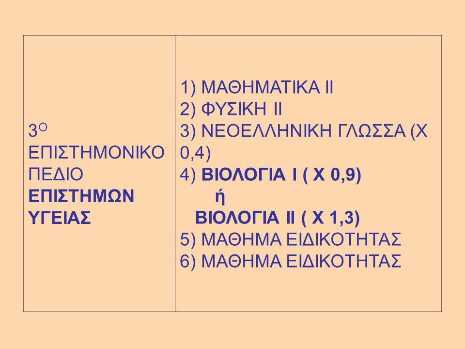 3 Ο ΕΠΙΣΤΗΜΟΝΙΚΟ ΠΕΔΙΟ ΕΠΙΣΤΗΜΩΝ ΥΓΕΙΑΣ 1) ΜΑΘΗΜΑΤΙΚΑ II 2) ΦΥΣΙΚΗ II 3) ΝΕΟΕΛΛΗΝΙΚΗ ΓΛΩΣΣΑ (Χ 0,4) 4) ΒΙΟΛΟΓΙΑ I ( Χ 0,9) ή ΒΙΟΛΟΓΙΑ II ( Χ 1,3) 5) ΜΑΘΗΜΑ ΕΙΔΙΚΟΤΗΤΑΣ 6) ΜΑΘΗΜΑ ΕΙΔΙΚΟΤΗΤΑΣ