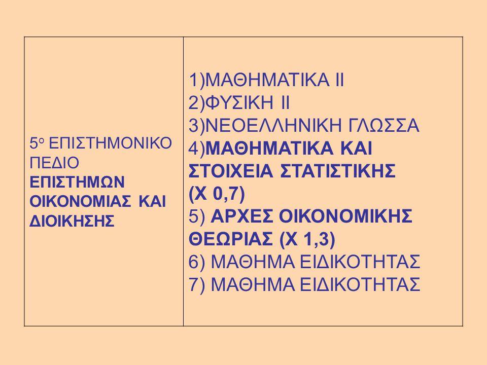 5 ο ΕΠΙΣΤΗΜΟΝΙΚΟ ΠΕΔΙΟ ΕΠΙΣΤΗΜΩΝ ΟΙΚΟΝΟΜΙΑΣ ΚΑΙ ΔΙΟΙΚΗΣΗΣ 1)ΜΑΘΗΜΑΤΙΚΑ II 2)ΦΥΣΙΚΗ II 3)ΝΕΟΕΛΛΗΝΙΚΗ ΓΛΩΣΣΑ 4)ΜΑΘΗΜΑΤΙΚΑ ΚΑΙ ΣΤΟΙΧΕΙΑ ΣΤΑΤΙΣΤΙΚΗΣ (Χ 0,7) 5) ΑΡΧΕΣ ΟΙΚΟΝΟΜΙΚΗΣ ΘΕΩΡΙΑΣ (Χ 1,3) 6) ΜΑΘΗΜΑ ΕΙΔΙΚΟΤΗΤΑΣ 7) ΜΑΘΗΜΑ ΕΙΔΙΚΟΤΗΤΑΣ
