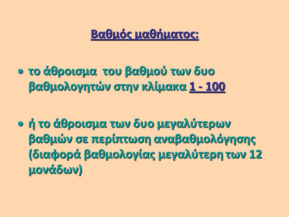 Βαθμός μαθήματος:  το άθροισμα του βαθμού των δυο βαθμολογητών στην κλίμακα 1 - 100  ή το άθροισμα των δυο μεγαλύτερων βαθμών σε περίπτωση αναβαθμολόγησης (διαφορά βαθμολογίας μεγαλύτερη των 12 μονάδων)