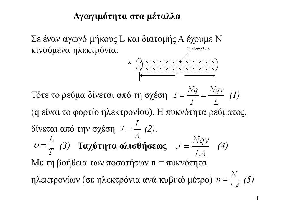 1 Τότε το ρεύμα δίνεται από τη σχέση(1) (q είναι το φορτίο ηλεκτρονίου).