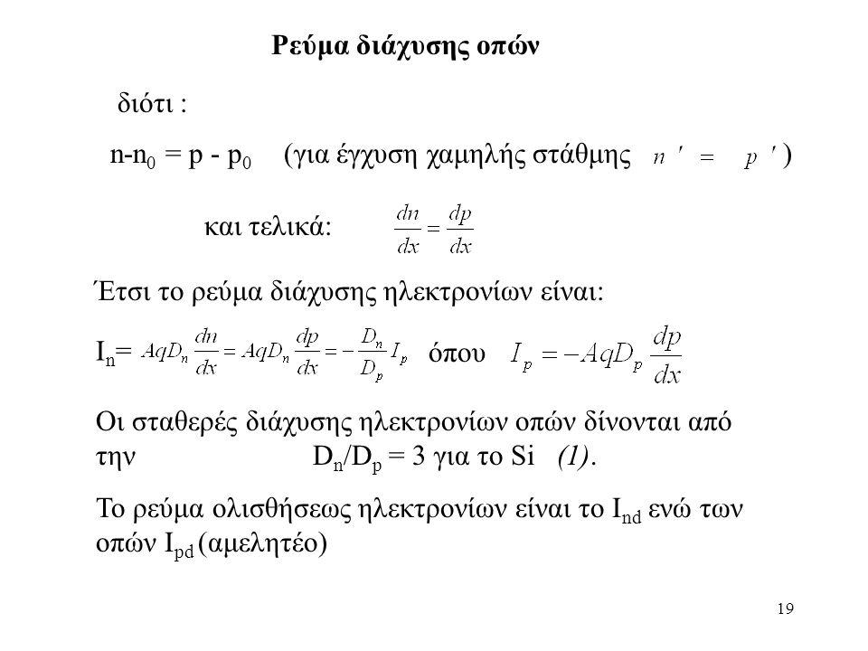 19 n-n 0 = p - p 0 (για έγχυση χαμηλής στάθμης ) Ρεύμα διάχυσης οπών διότι : και τελικά: Έτσι το ρεύμα διάχυσης ηλεκτρονίων είναι: Ιn=Ιn= όπου Οι σταθερές διάχυσης ηλεκτρονίων οπών δίνονται από την D n /D p = 3 για το Si (1).