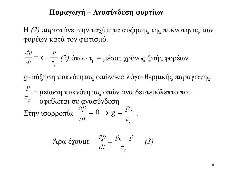 37 Το Ι για x = 0 γίνεται:(2) (3) Απαλείφοντας το p'(0) από τις (2) και (3) έχουμε: Όπου: Περιγραφή διόδου δι' ελέγχου φορτίου
