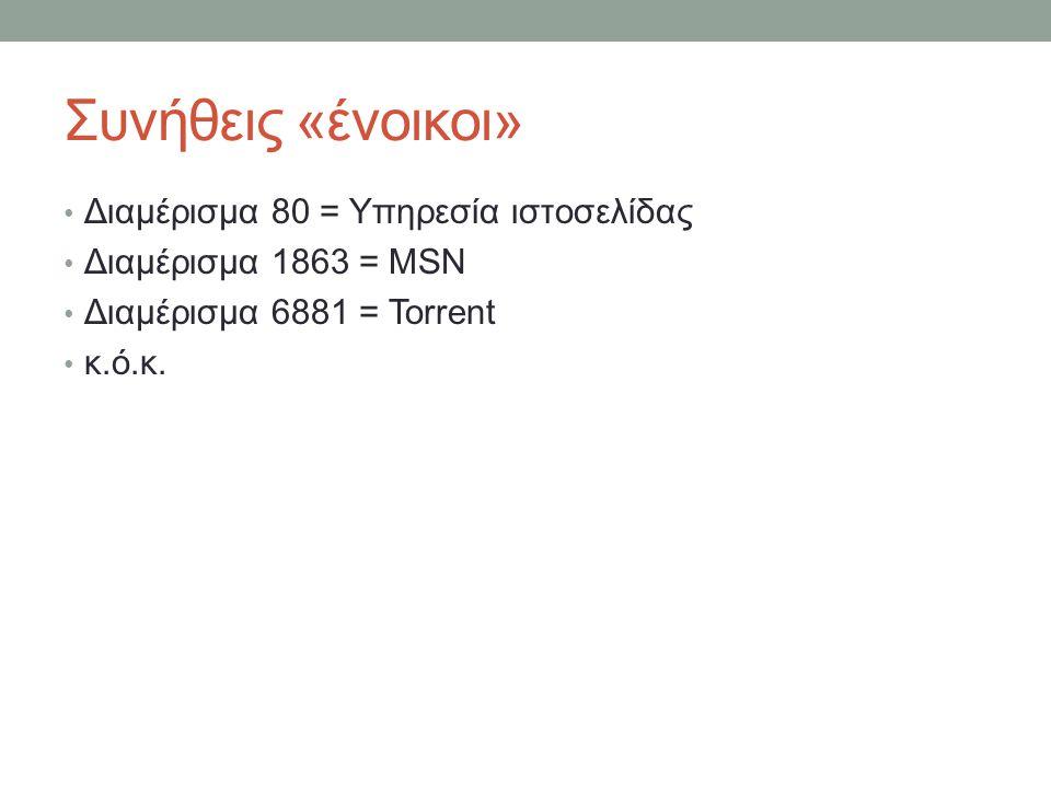Συνήθεις «ένοικοι» Διαμέρισμα 80 = Υπηρεσία ιστοσελίδας Διαμέρισμα 1863 = MSN Διαμέρισμα 6881 = Torrent κ.ό.κ.