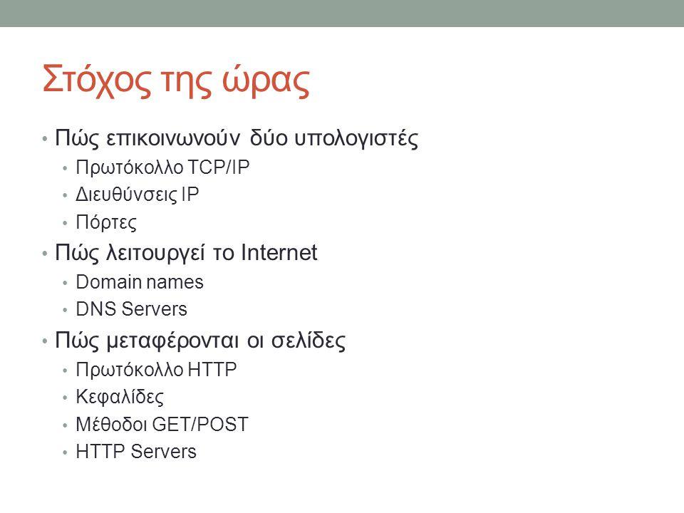 Στόχος της ώρας Πώς επικοινωνούν δύο υπολογιστές Πρωτόκολλο TCP/IP Διευθύνσεις IP Πόρτες Πώς λειτουργεί το Internet Domain names DNS Servers Πώς μεταφ