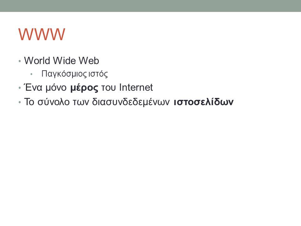 WWW World Wide Web Παγκόσμιος ιστός Ένα μόνο μέρος του Internet Το σύνολο των διασυνδεδεμένων ιστοσελίδων