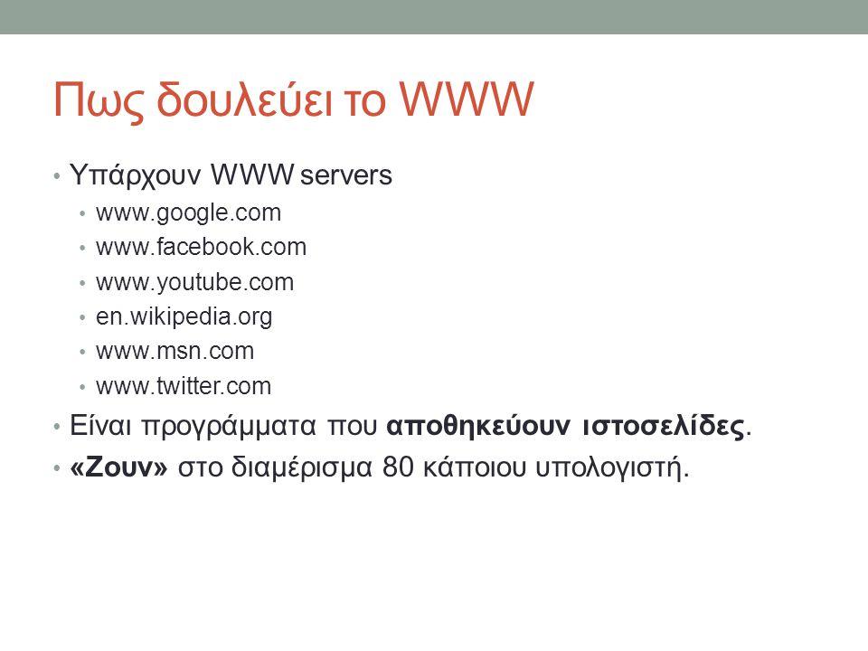 Πως δουλεύει το WWW Υπάρχουν WWW servers www.google.com www.facebook.com www.youtube.com en.wikipedia.org www.msn.com www.twitter.com Είναι προγράμματ