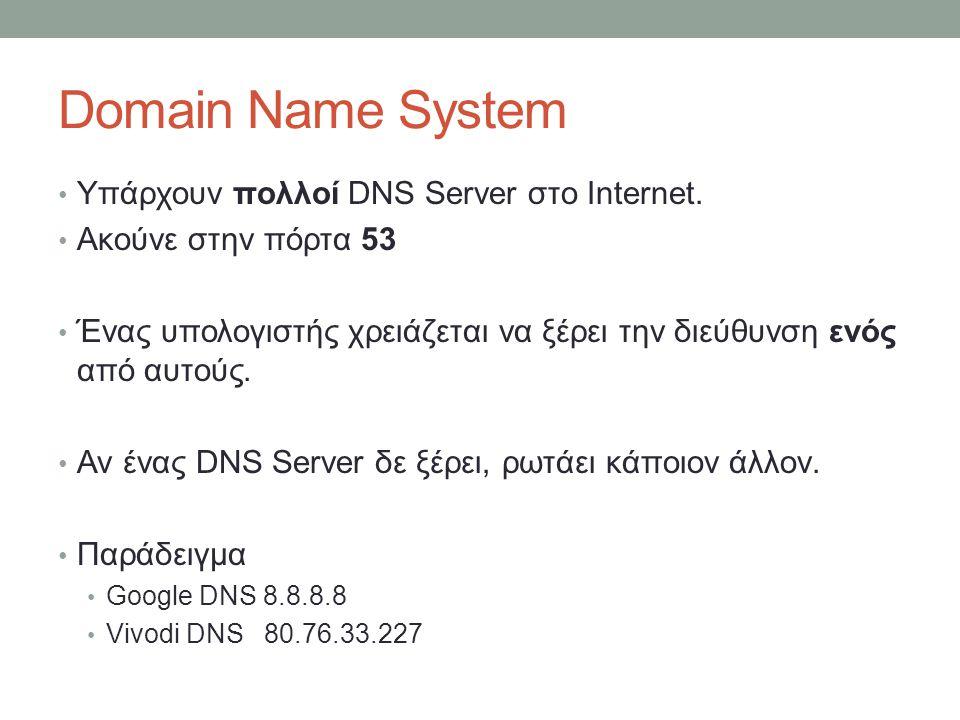 Domain Name System Υπάρχουν πολλοί DNS Server στο Internet. Ακούνε στην πόρτα 53 Ένας υπολογιστής χρειάζεται να ξέρει την διεύθυνση ενός από αυτούς. Α
