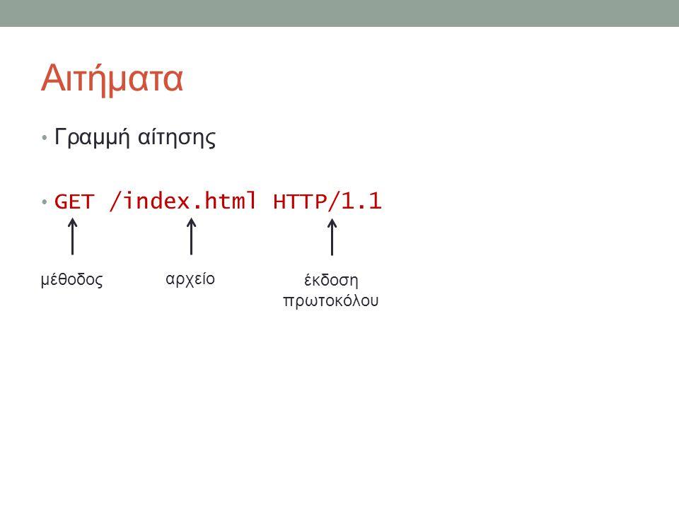 Αιτήματα Γραμμή αίτησης GET /index.html HTTP/1.1 μέθοδος αρχείο έκδοση πρωτοκόλου